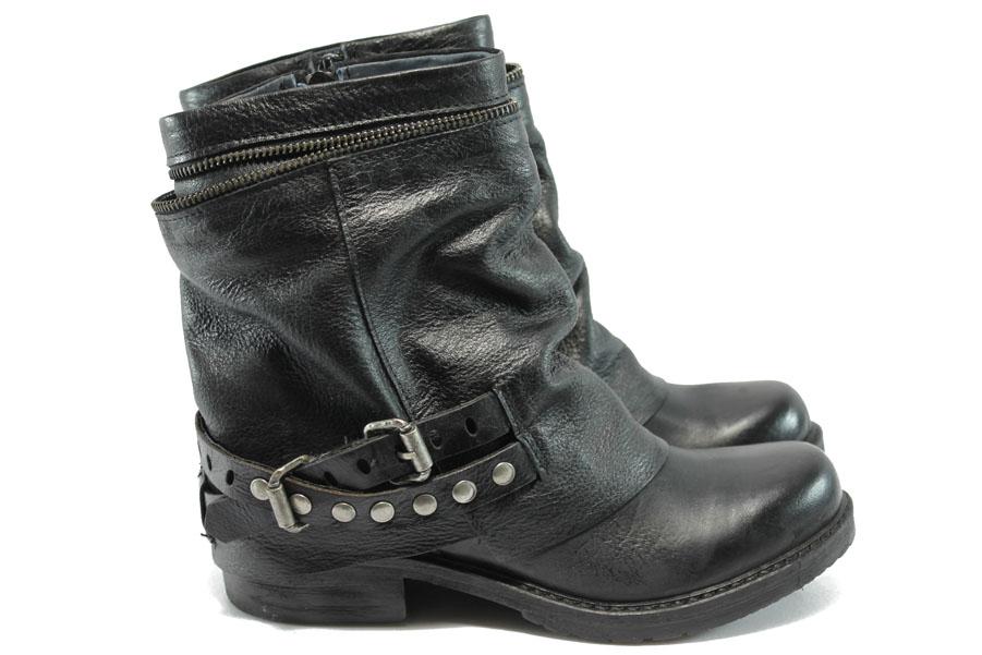 Дамски боти - естествена кожа - черни - ИО 1510 черен