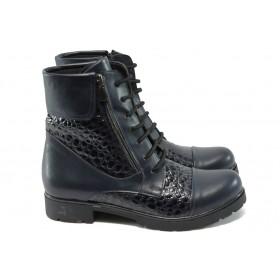 Дамски боти - висококачествена еко-кожа - черни - МИ 263 син