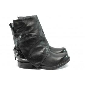 Дамски боти - естествена кожа - черни - EO-7270