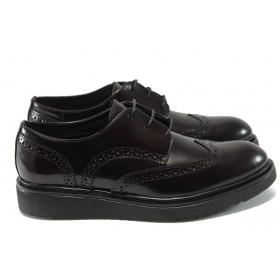 Равни дамски обувки - естествена кожа - бордо - EO-7278