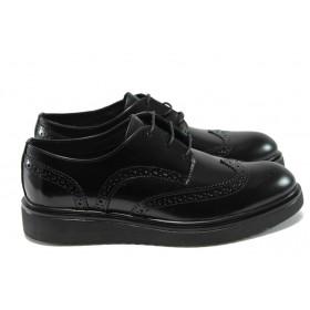 Равни дамски обувки - естествена кожа - черни - EO-7279