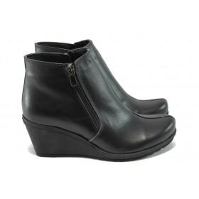 Дамски боти - естествена кожа - черни - EO-7310