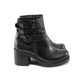 Дамски боти - естествена кожа - черни - EO-7315