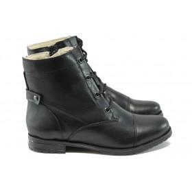 Дамски боти - естествена кожа - черни - EO-7355