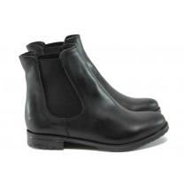 Дамски боти - естествена кожа - черни - EO-7356