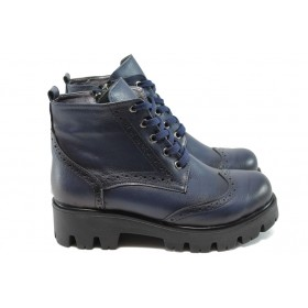 Дамски боти - висококачествена еко-кожа - сини - EO-7393