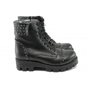 Дамски боти - висококачествена еко-кожа - черни - EO-7396