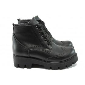 Дамски боти - висококачествена еко-кожа - черни - EO-7394