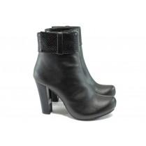 Дамски боти - висококачествена еко-кожа - черни - EO-7385