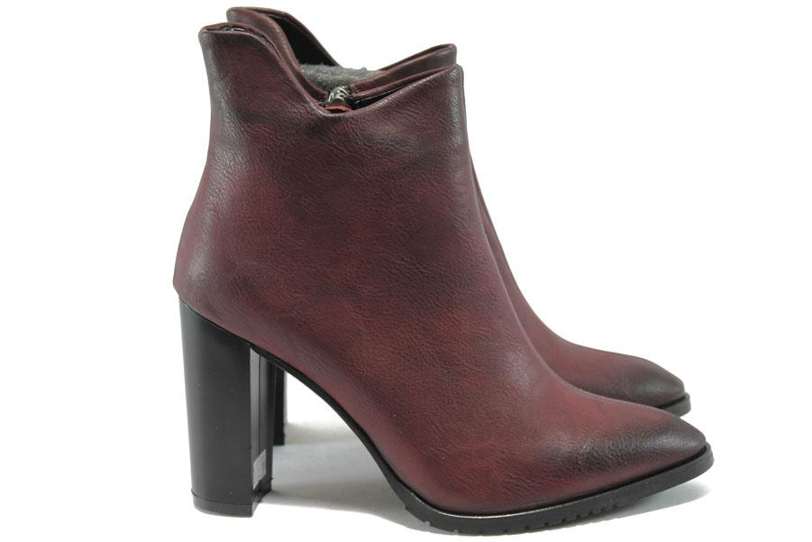 Дамски боти - висококачествена еко-кожа - бордо - EO-7384