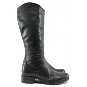 Дамски ботуши - естествена кожа - черни - EO-7432