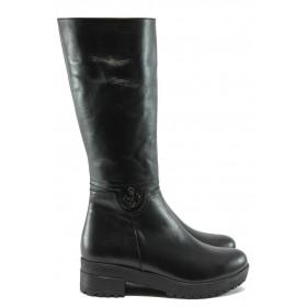 Дамски ботуши - естествена кожа - черни - EO-7431