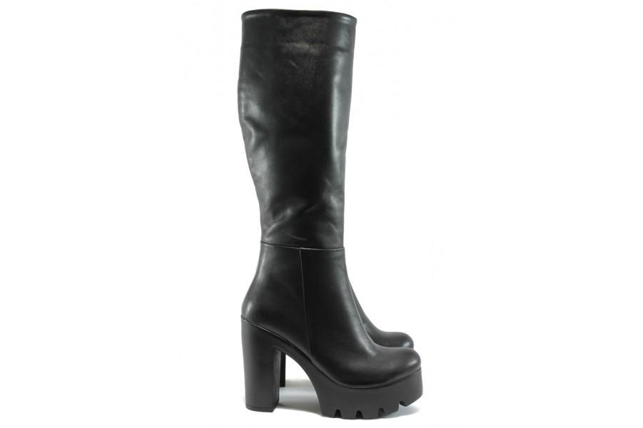 Дамски ботуши - естествена кожа - черни - EO-7429