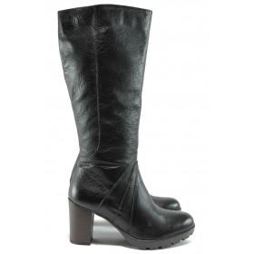 Дамски ботуши - естествена кожа - черни - EO-7494