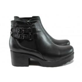 Дамски боти - естествена кожа - черни - EO-7544