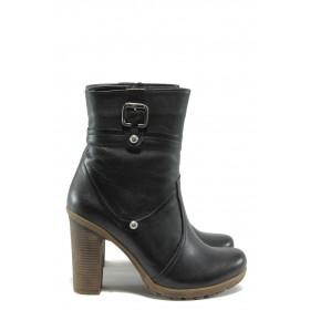 Дамски боти - естествена кожа - черни - EO-7548