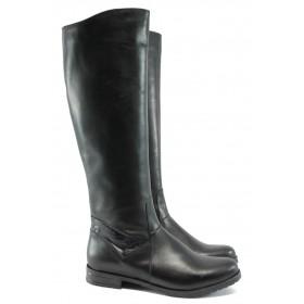 Дамски ботуши - естествена кожа - черни - EO-7538