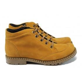 Дамски боти - естествен набук - жълти - EO-7582