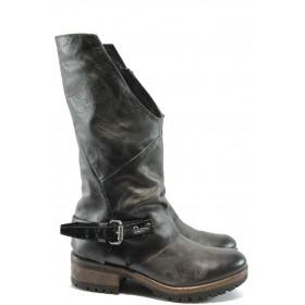 Дамски ботуши - естествена кожа - черни - EO-7635
