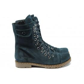 Дамски боти - естествен велур - сини - EO-7644