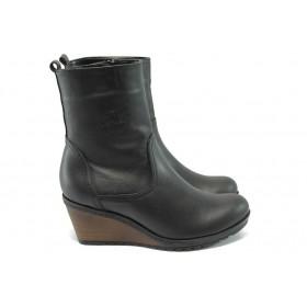 Дамски боти - естествена кожа - черни - EO-7648
