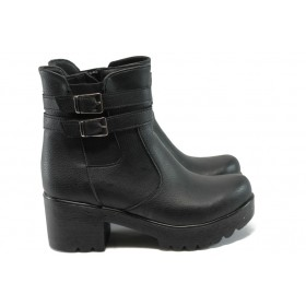 Дамски боти - висококачествена еко-кожа - черни - EO-7661