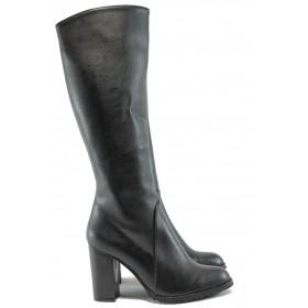 Дамски ботуши - висококачествена еко-кожа - черни - EO-7665