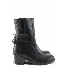 Дамски боти - естествена кожа - черни - EO-7725