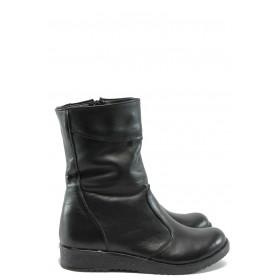 Дамски боти - естествена кожа - черни - EO-7726