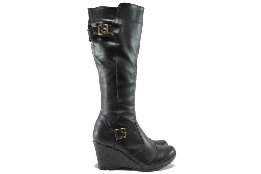 Дамски ботуши - естествена кожа - черни - EO-7768