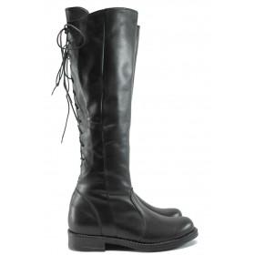 Дамски ботуши - естествена кожа - черни - EO-7769