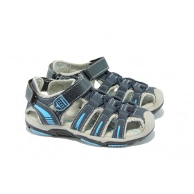 Детски сандали - висококачествена еко-кожа - сини - EO-6306