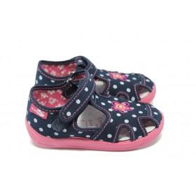 Детски сандали - висококачествен текстилен материал - тъмносин - EO-6299