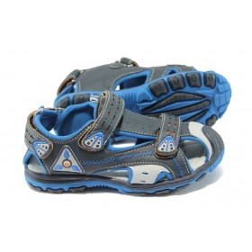 Детски сандали - висококачествена еко-кожа - тъмносин - EO-6517
