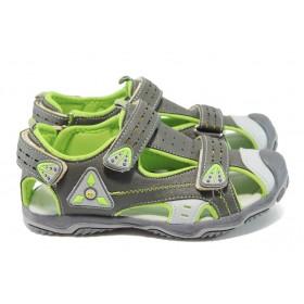 Детски сандали - висококачествена еко-кожа - сиви - EO-6512