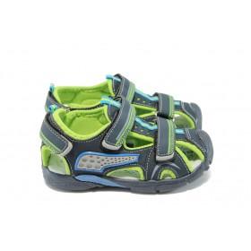 Детски сандали - висококачествена еко-кожа - тъмносин - EO-6510