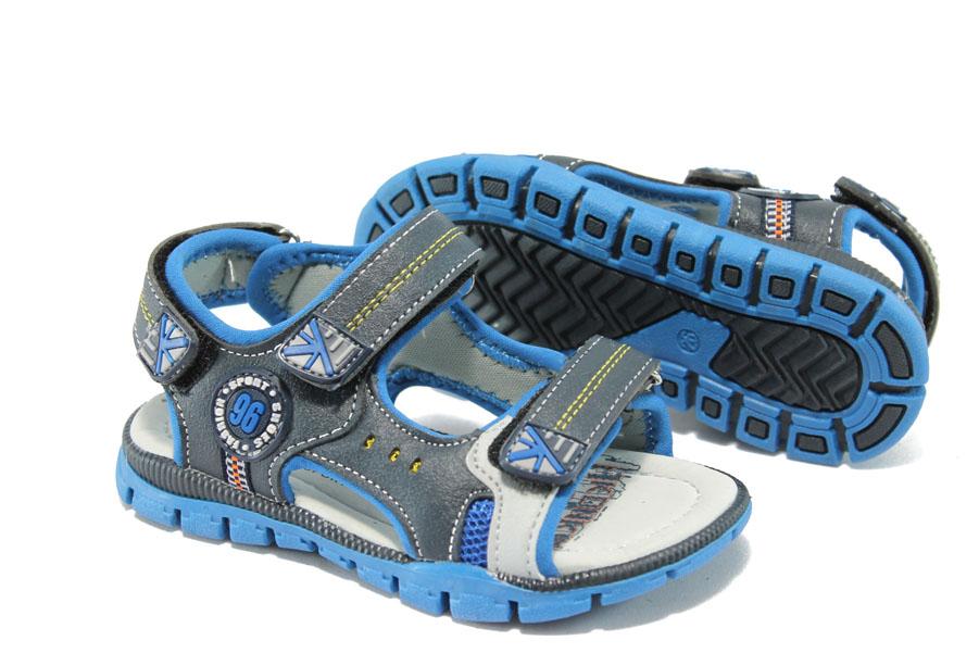 Детски сандали - висококачествена еко-кожа - сини - EO-6511