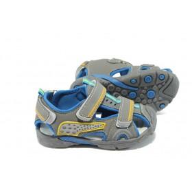 Детски сандали - висококачествена еко-кожа - сиви - EO-6513