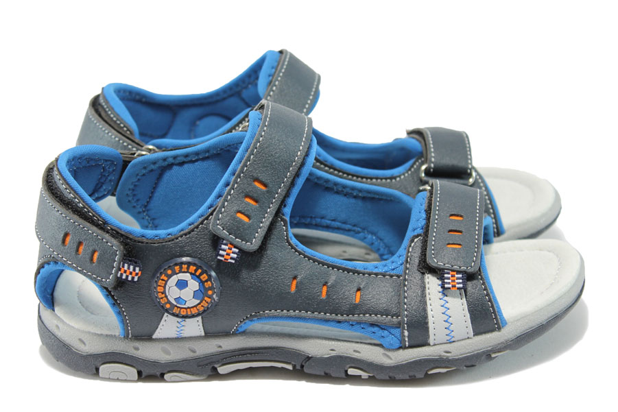 Детски сандали - висококачествена еко-кожа - тъмносин - EO-6515