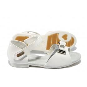 Детски сандали - еко кожа-лак - бели - EO-6531
