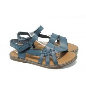 Детски сандали - висококачествена еко-кожа - сини - EO-6528