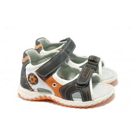 Детски сандали - висококачествена еко-кожа - сиви - EO-6587