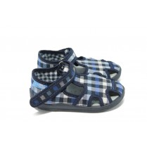 Детски сандали - висококачествен текстилен материал - тъмносин - МА 13-141 т.син каре 22/27