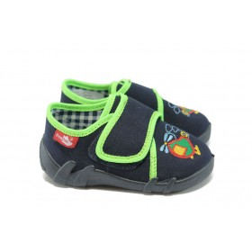 Детски обувки - висококачествен текстилен материал - тъмносин - МА 13-110 т.син-неон