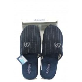Мъжки чехли - висококачествен текстилен материал - сини - ДФ TATTICO2 синьо райе