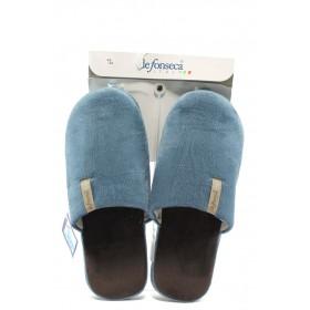 Мъжки чехли - висококачествен текстилен материал - сини - EO-7188