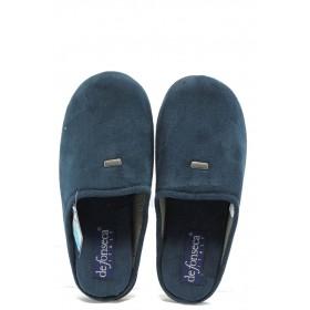 Мъжки чехли - висококачествен текстилен материал - сини - EO-7191