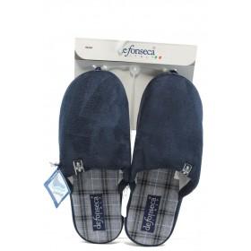 Мъжки чехли - висококачествен текстилен материал - сини - EO-7192