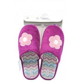 Дамски чехли - висококачествен текстилен материал - розови - EO-7202