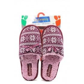 Дамски чехли - висококачествен текстилен материал - розови - EO-7205
